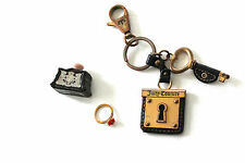 AUTHENTIC JUICY COUTURE LOT PERFUME PARFUM FLOWER RING LOCK & KEY CHAIN LEATHER