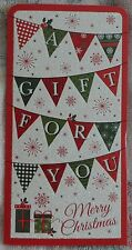 """BN - CHRISTMAS - MONEY WALLET - """"A GIFT FOR YOU"""" - BUNTING/PRESENTS - STYLE 9"""