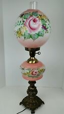 Vintage L&L WMC Ornate Pink Floral Hand Painted Rose Banquet Parlor Lamp, Works