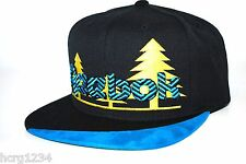 REEBOK NK99Z TREES EMBROIDERED LOGO SNAPBACK FLAT BILL CAP/HAT- BLK/YELLOW/BLUE