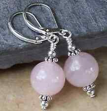 Beautiful 10mm light pink Quartz Round Beads Silver Dangle Leverback Earring