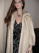 PLUSH STRANAHANS Champagne MINK JACKET COAT FUR Cream White Blonde Swing Wedding