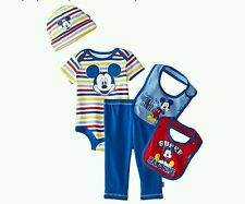 Disney Mickey Mouse Blue 5 Piece Boxed Layette Set - New Size 0-6 Months