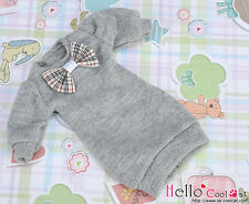 ☆╮Cool Cat╭☆ 48.【NK-34】Blythe Pullip(Puffed Sleeves)Clothes # Grey(Bow)