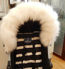PRAM PUSHCHAIR  WHITE FAUX FUR HOOD TRIM - FITS ALL HOODS  - STUNNING