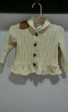 Janie and jack girls 6-12 mo riding horse cardigan leather shoulder knot button