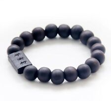 Wood Happy Lucky Word Tibet Buddhist Prayer Beads Mala Bracelet