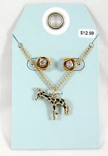 "Adorable New 18"" Goldtone Necklace With a Giraffe Pendant & Earrings #N2393"