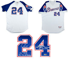Evan Gattis Autographed/Signed Game Issued Braves Hank Aaron Style MLB Jersey