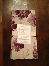 Williams Sonoma Grape Toile Cotton Dinner Napkins Purple Cream Set of 4 New