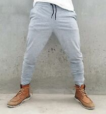 Mens Cotton Trackies Skinny leg tapered Slim Joggers Pants cuff Dance Gym Track