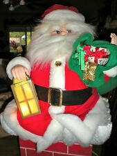 VTG MID CENTURY CHRISTMAS LARGE MOTION SANTA WITH CHIMNEY AND A BAG OF GIFTS