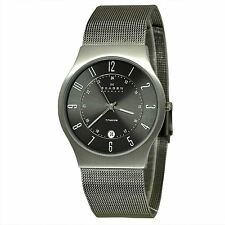 Skagen Men's Quartz Grey Titanium Case Stainless Steel Mesh Watch 233XLTTM