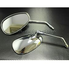 CHROME OVAL TEARDROP REARVIEW SIDE MIRRORS 10MM FOR MOTORCYCLE CRUISER CHOPPER