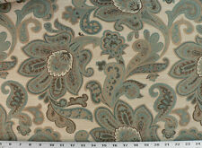 Drapery Upholstery Fabric Rustic Jacquard Floral - Teal, Brown, Tan on Beige