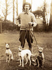 WHIPPET CHARMING DOG GREETINGS NOTE CARD MAN HOLDING THREE DOGS