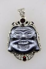 LAUGHING BUDDHA CRYSTAL SILVER  SET WITH RED  GARNETS