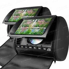 "XTRONS 2X 9"" Car Headrest Digital Screen DVD player USB Games SD FM IR Zipper UK"