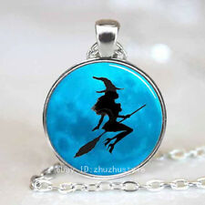 Vintage Witch girl Cabochon Tibetan silver Glass Chain Pendant Necklace h25