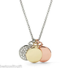 FOSSIL 3 TONE,TRIPLE DISC CRYSTAL PAVE ROSE,GOLD,SILVER PENDANT NECKLACE-JF01344