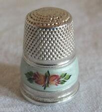 dé à coudre argent émaillé antique silver thimble necessaire couture