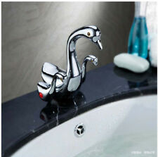 Modern Chrome Bathroom Basin Faucet Swan Sink Mixer Tap Dual Handles Deck Mount