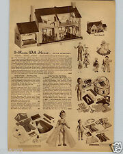 1942 PAPER AD 5 Room Doll House Tudor Colonial Mongomery Ward Doll Family Dad