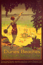 VISIT DUNES BEACHES SOUTH SHORE LINE GIRL CHICAGO VINTAGE POSTER REPRO SMALL