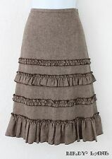 Ann Taylor Loft Tiered Ruffle A-Line Skirt Wool Blend Tweed Prairie Country 2