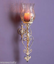 Metal Hurricane Wall Sconce Antique Vintage Scroll Candle Votive Holder Decor