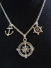 A Compass, Anchor Nautical, Wheel, Amulet Charm Pendant Chain Necklace, Surf