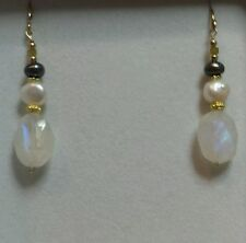 Moonstone White black baroque Keshi pearl yellow Diamond 14k gold earrings