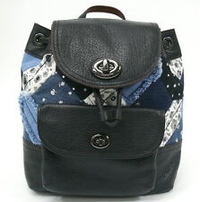COACH 37743 Leather Denim Skull Print Canyon Quilted Rucksack Backpack NWT