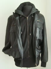 MEN'S BLACK LEATHER HOODED BOMBER JACKET SIZE XL - #2884 ****SALE OFFER****