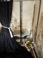 "NEW! Stunning Heavy Black Crushed Velvet 93""D52""W Blackout Lined Eyelet Curtains"