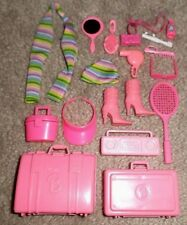 BARBIE DOLL TRAVEL ACCESSORY SET - 18pc LUGGAGE, SHOES, COSMETICS & MORE