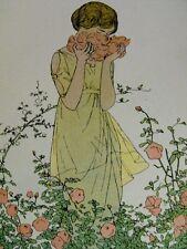 A. E. Marty  Des roses parfum de Rigaud  rare planche publicitaire de 1913
