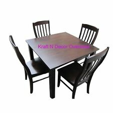 Comtempory Dining Set with 4 Chairs set of Shesham Wood in Brown Colour