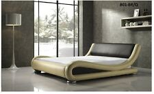 ITALIAN DESIGN QUEEN SIZE BLACK PU LEATHER BED FRAME