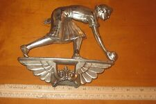 VINTAGE 1920s CUP TROPHY FEMALE BOWLING AWARD METAL PLAQUE COOL! LOOK!