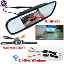 "Hot Rear View Kit Wireless IR Reverse Car Backup Camera W/ 4.3"" Mirror Monitor"