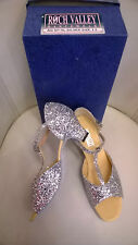 Silver Glitter Ballroom Musical Theatre Stage Shoes UK size 7.5 FREE DELIVERY !!