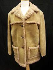 Vtg 70s Women Finger Hut Fashion Coat Jacket Washable Lt Brown Faux Suede Fur L