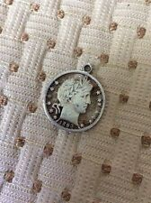 Original 1893 Barber Half Dollar Cut Out Love Token Necklace Pendant JCE