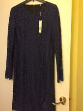 Elie Tahari Bellamy lacy dress size 14. NWT Bloomingdales $498 Blue/ black