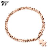 TT 9K Rose Gold GP Stainless Steel Beaded Puzzle Bracelet (CBF08) NEW
