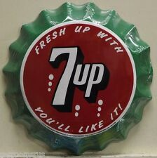"7UP 12"" bottle cap embossed metal sign fresh up with 7 up vintage style    su-05"