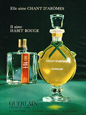 PUBLICITE ADVERTISING 114  1967  GUERLAIN  parfums CHANT D'AROME & HABIT ROUGE