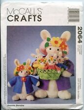 """Easter Bunnies -Mom (20""""), Daughter & Babies  - w Clothes - UNCUT Sewing Pattern"""