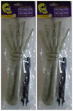 Halloween Prop Plastic Body Parts Haunted House ~ Glow in Dark 2 Skeleton Hands